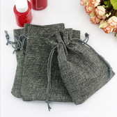 "100 Burlap Drawstring Bag Gift Pouch 2 3/4"" x 3 1/2"" Grey"