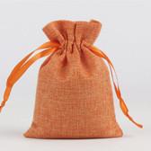 "100 Burlap Drawstring Bag Gift Pouch 2 3/4"" x 3 1/2"" Orange"