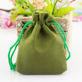 "100 Burlap Drawstring Bag Gift Pouch 2 3/4"" x 3 1/2"" Olive Green"