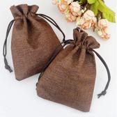 "100 Burlap Drawstring Bag Gift Pouch 2 3/4"" x 3 1/2"" Brown"