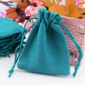 "100 Burlap Drawstring Bag Gift Pouch 2 3/4"" x 3 1/2"" Teal Blue"