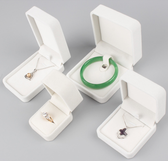 Velvet Jewelry Box Ring Pendant Earring Bracelet Necklace White