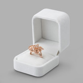 White Velvet Box for Ring