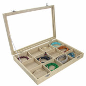Glass-Top 12-Compartment Jewelry Display Case Burlap