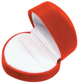 12 Flocked Velour Ring Jewelry Gift Box Red HEART