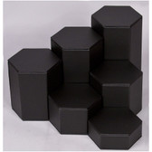 Large 6-Pc Faux Leather Hexagon Riser Set Black