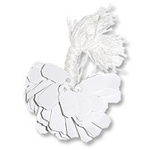 """Paper Tie-On String Price Label Jewelry Tag Blank 3/8"""" x 7/8"""" White"""