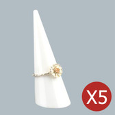 """5 Acrylic Ring Display Cone Stand 2""""H White"""