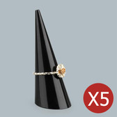 "5 Acrylic Ring Display Cone Stand 2""H Black"