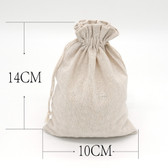 """Jewellery Bag Gift Pouch 4"""" x 5.5"""" Cotton Beige"""