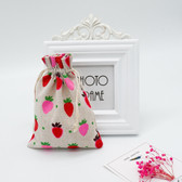 "25 Jewelry Gift Pouch 4x5.5"" Cotton Bags Strawberry"