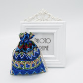 "25 Jewelry Gift Pouch 4x5.5"" Cotton Bags Blue Pattern"