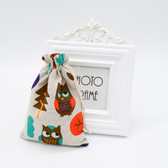 """25 Jewelry Gift Pouch 4x5.5"""" Cotton Bags Forest Owl"""