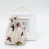 "25 Jewelry Gift Pouch 5x7"" Cotton Bags Butterfly"