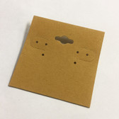 "100 Plastic Earring Hanging Card 2""X2"" Kraft"