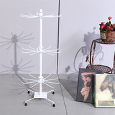 "Large Counter Top 28"" High Spin Metal Rack 3 Tiers White"