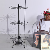 "Large Counter Top 28"" High Spin Metal Rack 3 Tiers Black"