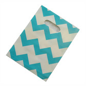 "100 Plastic Retail Jewelry Gift Shopping Bags 6X8"" Chevron Blue"