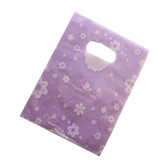 "100 Plastic Retail Store Gift Shopping Bags 14X17"" Purple Flower"