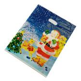 """100 Plastic Retail Store Gift Shopping Bags 14X17"""" Christmas Santa"""
