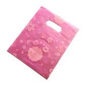 "100 Plastic Retail Store Shopping Bags Handle Slot 10X13"" Pink Flower"