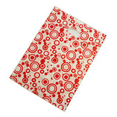 "100 Plastic Retail Store Shopping Bags Handle Slot 10X13"" Red Rings"