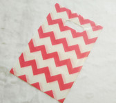 "50 Plastic Retail Jewelry Gift Shopping Bags 8X12"" Chevron Pink"