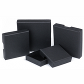 "Shipping Friendly Thin Box 3 1/2"" x 3 1/2"" x 5/8""H Black Linen"