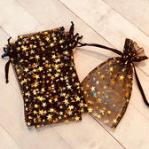 "10 Jewellery Drawstring Pouch Gold Star 6"" X 7 1/4"""