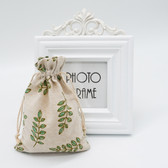 "25 Jewelry Gift Pouch 4x5.5"" Cotton Bags Small Leaf"