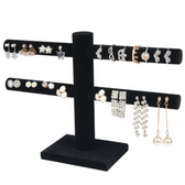 2-Tier Earring Stud Display Black Velvet