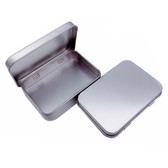 "50 Metal Tin Boxes With Hinged Lid 2 1/2"" x 3 1/2"" x 3/4""H"