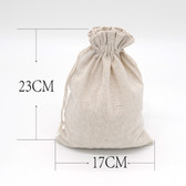 """Jewelry Gift Cotton Bag Muslin Cloth Pouch 6.5"""" x 9""""  Beige"""