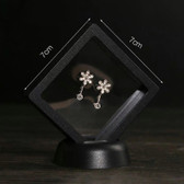 "10 Suspension 3D Display Jewelry Gift Box 3 1/2"" x 3 1/2"" x 3/4"" Black"