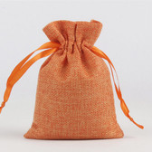 "Burlap Bag Gift Pouch 4"" x 5 1/2"" Orange"