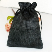 "Burlap Bag Gift Pouch 4"" x 5 1/2"" Black"