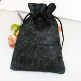 "Burlap Drawstring Bag Gift Pouch 5"" x 7"" Black"