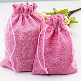"Burlap Drawstring Bag Gift Pouch 5"" x 7"" Pink"
