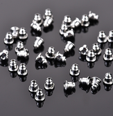 100 Metal Ear Backs Barrel Bullet Stoppes Silver