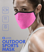 Sports Face Mask Gym Outdoor 2-Layer Polyester Washable Pink