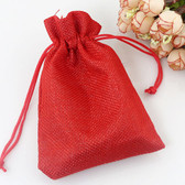 "Burlap Drawstring Bag Gift Pouch 5"" x 7"" Red"