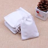"""Velvet Bag Gift Pouch 5"""" X 7"""" White"""