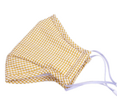Cotton Adult Face Mask Washable Individual Sealed Yellow Checkers