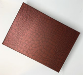 "12 Large Jewelry Box 6"" x 8.25"" x 1.5""H Crocodile Burgundy"