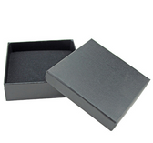 "100 Jewellery Gift Box 3.75"" x 3.75"" x 1"" (Foam Insert) Black Linen"
