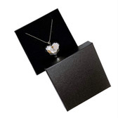 "100 Jewellery Gift Box 3.75"" x 3.75"" x 1"" (Foam Insert) Black Linen"