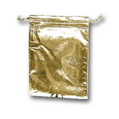 "100 Metallic Fabric Bag Jewellery Gift Pouch 2.75""x3.5"" Gold"