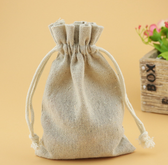 "Jewellery Bag Gift Pouch 3"" x 4"" Cotton Beige"