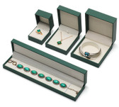 Faux Leather Jewelry Gift Boxes Green