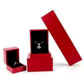 Faux Leather Jewelry Gift Boxes Red